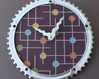Bicycle Gear Clock - Modern Gumdrop II | Bike Clock | Wall Clock | Recycled Bike Parts Clock