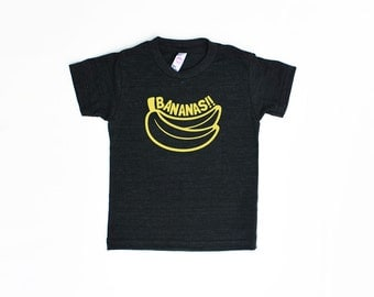 Bananas!! TriBlend Heather Black TShirt with Yellow Print - Infant and Toddler Sizes, Funny Text Tee, Baby Shower Gift