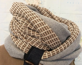 BROWN PLAID and GREY infinity scarf - reversible cowl, multiple styling options. Fleece and brown plaid sweater knit, denim and wood toggle.