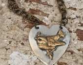 Heart Pendant with Brass Bird on Branch