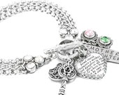 Customized Bracelet, Personalized Charm Bracelet with Sterling Silver Crown setting, Crystals, and hand stamped charm