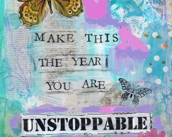 Inspirational painting, Unstoppable, Butterfly, Mixed Media, Children's art, Home decor, 8 x 10 print