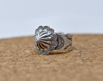 In the tradition - Concho Cigar Band Ring   handmade in sterling silver