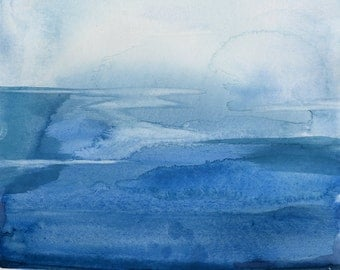 """Abstract Indigo Blue Zen Watercolor Painting, Serene, Peaceful, Tranquil, Original art """"Finding Tranquility 1"""" by Kathy Morton Stanion EBSQ"""