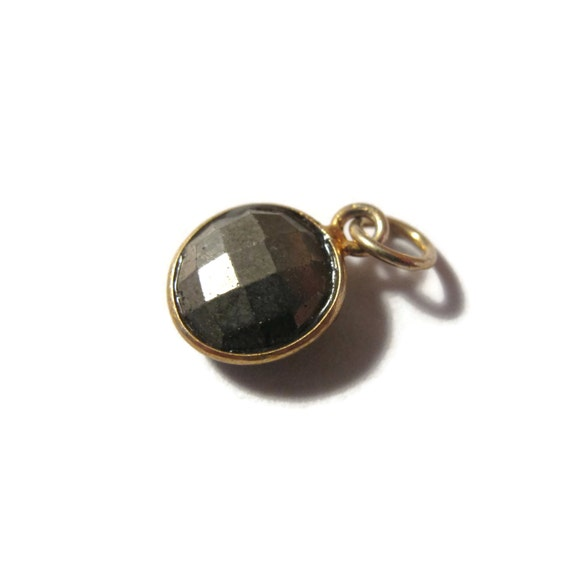 Irregular Baby Pyrite Charm, Round Fool's Gold Pendant with Gold Plated Bezel, Faceted Double Sided Gemstone (C-Py1c)