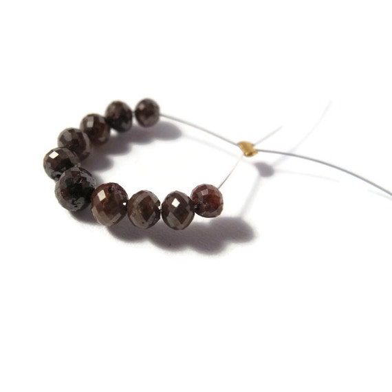 Natural Brown Diamonds -  Faceted Rondelles - 10 Sparkling Stones, 3.2mm - 4.2mm Graduated Superior Diamond Beads (Luxe-Di5a)