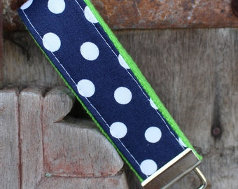Key Chain-Key Fob-Wristlet- Navy With White Dots On Lime-READY TO SHIP