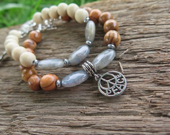 Set of Two Boho Luxe Bracelets - Wood & Gemstone - Grey Brown - Peace Feather Charms - Natural Earthy Bohemian Luxury Jewelry - Free Spirit