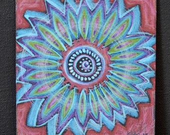 Original Mandala Visionary Spiritual Art Mixed Media: Absorption