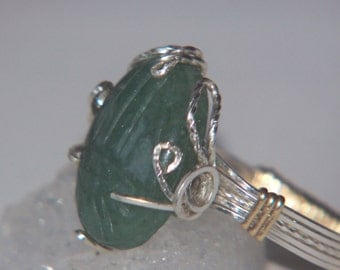 EGYPTIAN SCARAB Ring Green Adventurine 2 Tone Setting Carved Gemstone Wire Wrap Sterling Silver & 14k gold filled accents