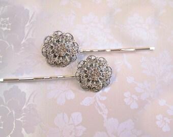 Wedding Hair Pins, Crystal Flowers, Flower Bobby Pins, Bridal Hair accessory , U-pins, Hair Clips, Bridesmaids Hair, Bridesmaids Gifts