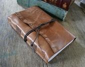 Leather Journal / Sketchbook / Wedding Guestbook . large 9x6 . handbound . tan/honey brown leather - embossed (320pgs)