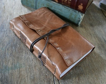 Leather Journal / Sketchbook / Wedding Guestbook . large 9x6 . handbound . tan/honey brown leather - embossed (320pgs)