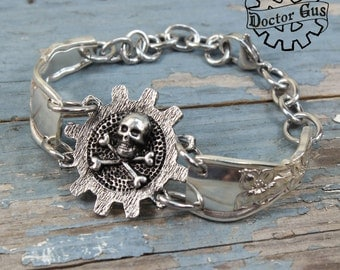 Cog Skull and Crossbones Bracelet - Handcrafted Jewelry Creations by Doctor Gus - Antique Recycled Spoon Bracelet - Steampunk Pirate Style