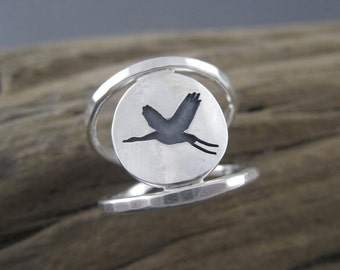 Handmade Sterling Silver Double Band Ring - The Elegant Crane