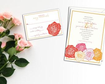 Rose Blossom Wedding Invitation, Floral Wedding, Thank you, Response Cards,Invitation, Woodcut Design Invitation, Wedding Stationery