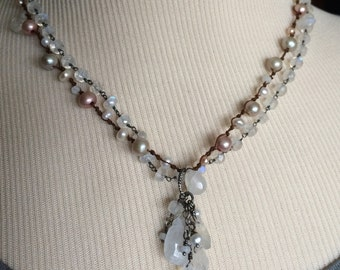 One of a Kind Pearl and Moonstone Necklace With Drop