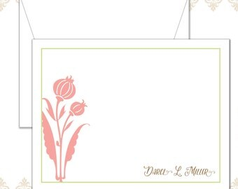 Modern Flower Stationery Set of 10 with envelopes - Personalized Flower Stationery - Floral Notecards - Modern flower notecards