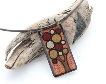 Rectangle Wood Tree Pendant Necklace, Red, Brown, Fall Colors, Tree Jewelry, Wood Burned Jewelry, Epoxy Resin, Tree of Life, Canadian Made