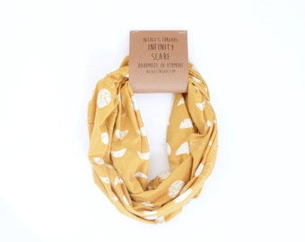 READY TO SHIP Infinity Scarf - Organic Jersey - Mustard Yellow with Moon Phase Pattern - Knit Fabric - Stretchy - Scarf