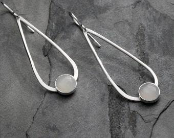 Moonstone Jewel Sterling Silver Earrings, Gemstone Dangle Teardrop Earrings, 8mm White Moonstones, Modern Clean Line Solid Sterling Silver