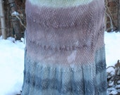 Gray purple green tie dye India cotton silver thread skirt Medium Large