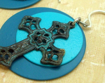 Verdigris Cross Earrings with Blue Patina and Turquoise and Aqua Discs
