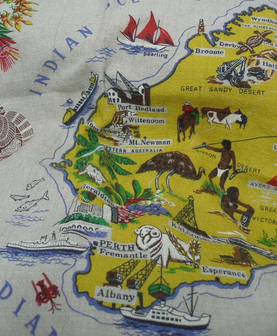 Australian map linen featuring cities wildlife flowers by