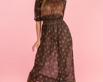 Vintage Sheer Black Paisley Bohemian Maxi Dress (Size Small)