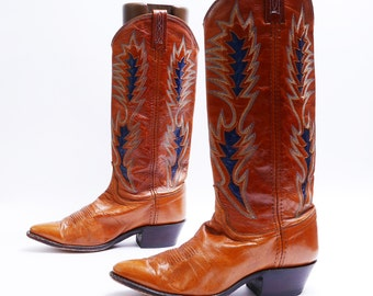 Mens 8 1/2 M size //  Brown Cowboy Boots// Mens Brown Leather Boots// 116