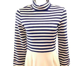 Vintage 2 pc Dress Set Butte Knit Dress// Beige and Navy Blue Striped Dress// Warm Fall Winter Casual Dress// 123