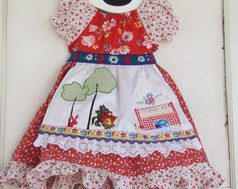 Little Red Riding Hood Applique Dress Peasant Apron Dress 12M READY to SHIP
