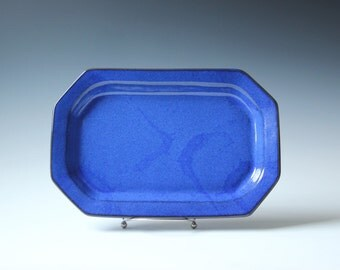 Danish ceramic serving platter cobalt blue large / ceramic Danish pottery