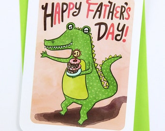 Crocodile Happy Father's Day Card - Father's Day Card for Dad Awesome Dad Card Cute Fathers Day Card Dad Card Sweet Fathers day Card Grandpa