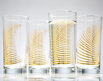 Metallic Gold Fern Glasses - Set of 4 Highball Glasses, Gold Holiday Glasses, Christmas Glasses, Christmas Glassware, Metallic Gold Leaf