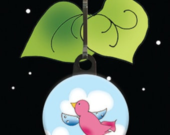 Zipper Charm - Pink Bird