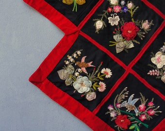 Antique Embroidery Wall Hanging, Victorian Chenille Embroidery, Stump Work, Ribbon Embrodery 1800's