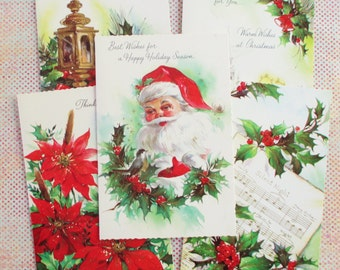 Twelve Assorted Vintage Unused Christmas Cards