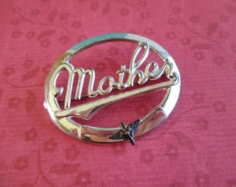 Vintage Sterling Script Mother Brooch With Aviation Prop & Wing