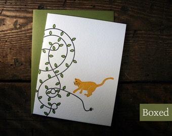 Letterpress Printed Cat & Lights Holiday Cards