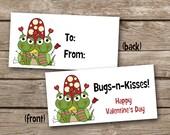 INSTANT DOWNLOAD - Valentine Treat Bag Topper - Bugs N Kisses - Printable Digital File - Design 5