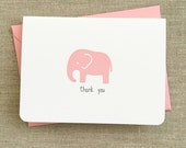 baby elephant baby shower thank you cards, girl elephant baby shower thank you notes, handmade baby elephant baby shower thank you cards