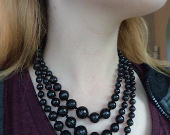 Vintage Triple Strand Black Plastic Beads Necklace, West Germany Stamped Black Facet Ball Necklace