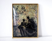 1930s Silhouette Picture Vintage Convex Glass Reverse Painting Southern Couple Romantic Scene Brass Frame Cottage Chic Decor Valentines Day