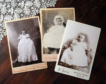 Cabinet Card Photographs, Antique Black White Portraits, Babies in White Christening Gowns, 1800s Fine Art Photography, Children Art
