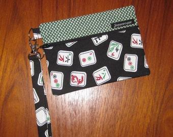 Wrist Strap Zippered Pouch Mah Jongg Tiles Design Black