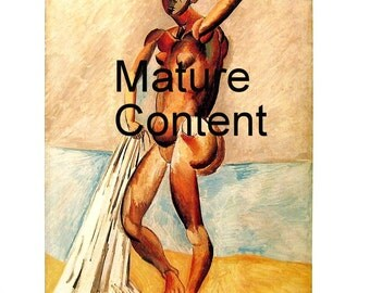 Bather - Mature Content - Picasso Reproduction Print - 1980 Vintage Book Page - Fine Art Print - For Framing - 9 x 11