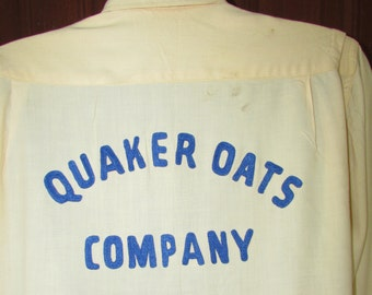50s Womens Bowling Shirt Vintage 1950s Yellow QUAKER OATS Advertising Nat Nast Blouse M