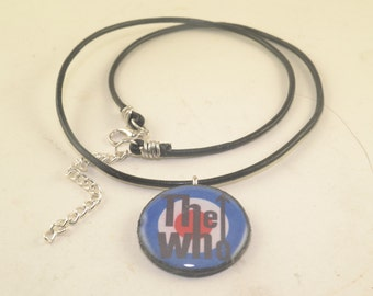 THE WHO Round Pendant Black Leather Neck Cord Resin Necklace