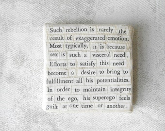 Mini Paper Collage // Vintage Text  Collage on Canvas // Psychology Series // Experimental Collage Art by Luluanne